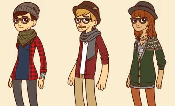 Cartoon-hipster