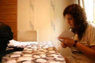 Fanni is preparing a vocabulary exercise for the students.
