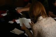 Enikő is reading one of the testimonies.